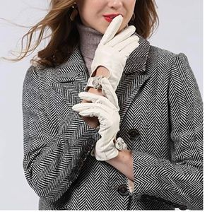 Sheepskin Leather Gloves With Bow
